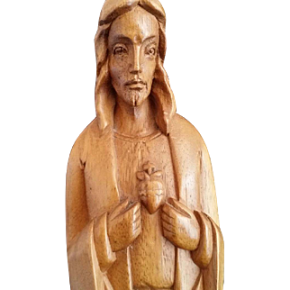 Large Hand Carved Sacred Heart of Jesus Statue