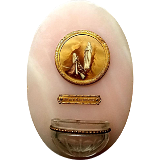 Pink Marble Lourdes Holy Water Font