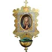 Antique French Holy Water Font with the Madonna
