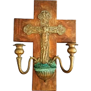 Wall Crucifix and Candelabra Holy Water Font