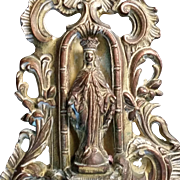 Large Antique Blessed Virgin Mary Holy Water Font