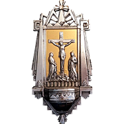 Art Deco Crucifixion Scene Holy water Font