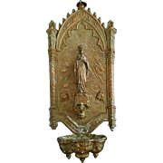 Bronze Our Lady of Lourdes Holy Water Font