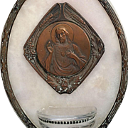 Antique Sacred Heart Holy Water Font