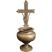 Pewter Holy Water Font with Instruments of Christ's Passion, 1800's