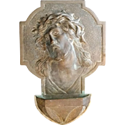 Bronze Christ with Crown of Thorns Holy Water Font