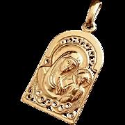 Sterling Madonna & Child Pendant with Rose Gold Gilding