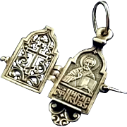 Sterling Russian Crucifix Locket with Saint Nicolas