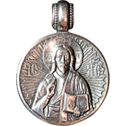 Large Russian Pendant with Image of Christ and a Prayer, .925 Sterling