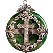 Chinese Jade Pendant with Crucifix - Red Tag Sale Item