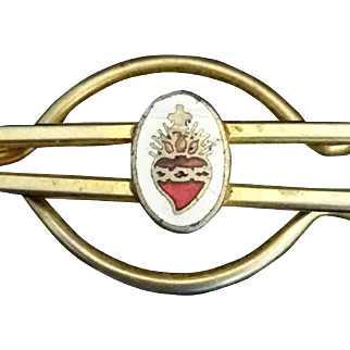 Enameled Sacred Heart Tie Clip