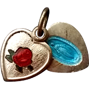 Enameled Rose Pendant with Secret Miraculous Medal