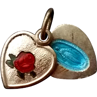 Enameled Rose Pendant with Secret Miraculous Medal