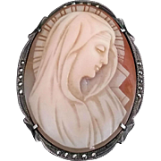 Antique Madonna Shell Cameo with Marcasite Setting