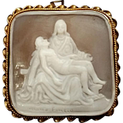 Pieta Shell Cameo, 925 Sterling & Gold Vermeil Setting, Signed