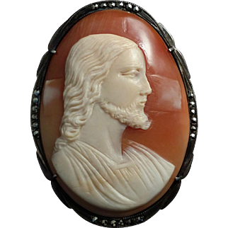 Antique Cameo of Christ in 800 Silver and Marcasite Setting