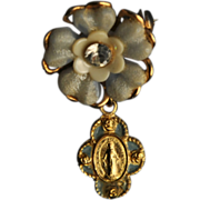 Pale Blue Floral Pin with a Rhinestone and Miraculous Medal
