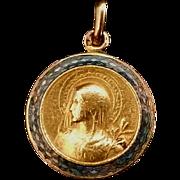 Madonna Medal with Blue Enamel
