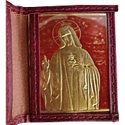 Red Leather Passionists Pocket Sacred Heart Memento