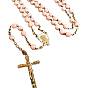 Faceted Pink Milk Glass Bead Rosary