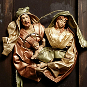 Large Nativity Scene Triptych with Fabric Mache Figures