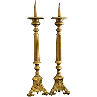 Antique Altar Candlesticks with Images of Jesus, Mary, and Joseph