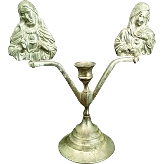 Sacred Heart and Immaculate Heart Candleholder