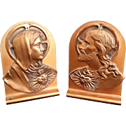 Copper Sacred Heart & Immaculate Heart Bookends
