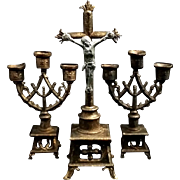 Miniature Dollhouse Crucifix & Candleholders Set