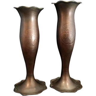 "Vintage Pair of Altar Vases with ""IHS"" Christogram"