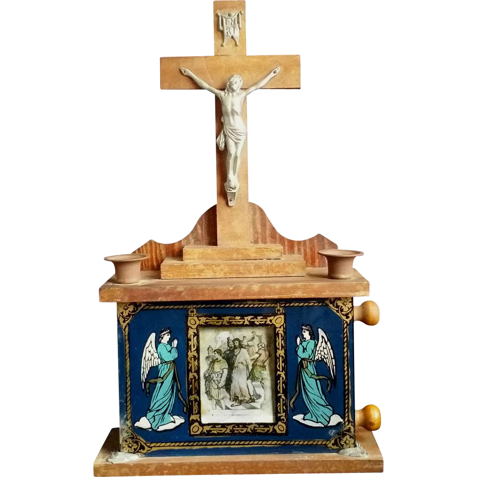 Catholic Altars For Sale: 1904 Stations Of The Cross Home Altar And Sick Call Set