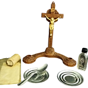 Vintage 1940's Syroco Sick Call / Last Rites Set with Holy Water Bottle