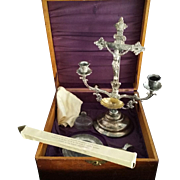 Antique Oak Sick Call Box Set with Crucifix Candelabra
