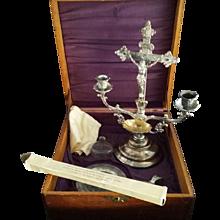 Antique Oak Sick Call Box Set with Crucifix Candelabra