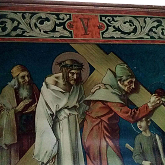 """Antique Fifth Station of the Cross: """"The Cyrenian Helps Jesus to Carry His Cross"""""""