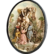 Antique 13th Station of the Cross: Jesus is Taken Down from the Cross