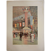 "Rare Original Chromolithograph The World's Fair in Watercolors - ""Interior of Electrical Building"" by C. Graham"
