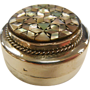 Fine Hallmarked Middle Eastern Sterling Silver Pill Box w/ Mother of Pearl Inlay
