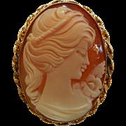 Vintage Bal Ron Signed 12k Gold Filled & Hand Carved Cameo Brooch/Pendant