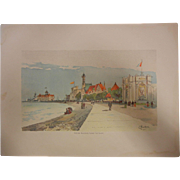 "Rare Antique Chromolithograph The World's Fair in Watercolors - ""Foreign Buildings Along The Shore"" by C. Graham"