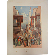 """Rare Antique Chromolithograph The World's Fair in Watercolors - """"Cairo Street"""" by C. Graham"""