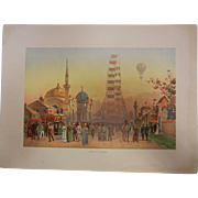 """Rare Antique Chromolithograph The World's Fair in Watercolors - """"Along The Plaisance"""" by C. Graham"""