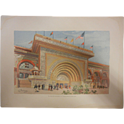 "Rare Antique Chromolithograph The World's Fair in Watercolors - ""The Gilded Entrance To Transportation Building"" by C. Graham"