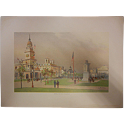 "Rare Antique Chromolithograph The World's Fair in Watercolors - ""Among The State Buildings"" by C. Graham"