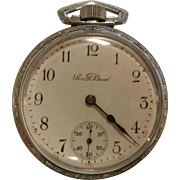 Vintage Silver-Tone SOUTH BEND Watch Co. 17 Jewel Pocket Watch