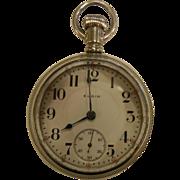 Vintage Nickel Silver ELGIN National Watch Co. 17 Jewel Pocket Watch