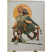 Unique Gemstone Mosaic Artwork - Norman Rockwell's 'Puppy Love'