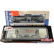 Set of Two HO Scale Model Train Cars - Covered Hopper & Chevron Tank Car