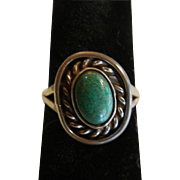 Fine Sterling Silver Ring w/ Natural Turquoise Cabochon - Size: 6.5