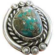 Vintage Sterling Silver & Natural Turquoise Ring - Size: 7